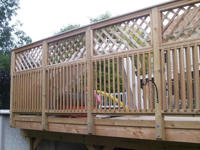 Porch privacy railing google search for the garden for Pool fence screening ideas