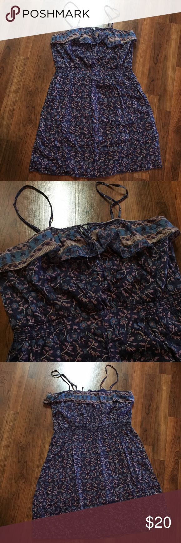 Floral Purple Ruffle Dress Excellent Used Condition - slightly elastic cinched waist with ruffles on top.  Light weight with a Keyhole tie.  Also has a built in bra.  This is beautiful & could look amazing with cowboy boots.  Top can even be worn with straps tucked in for a strapless look.  Color is most accurate in 1st photo. American Eagle Outfitters Dresses