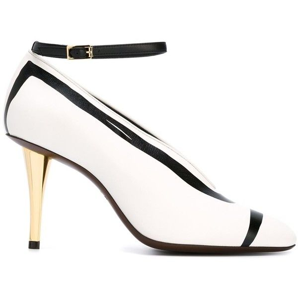 Lanvin ankle strap stiletto pumps (34,260 INR) ❤ liked on Polyvore featuring shoes, pumps, white, stiletto pumps, leather shoes, white stilettos, lanvin pumps and white pumps