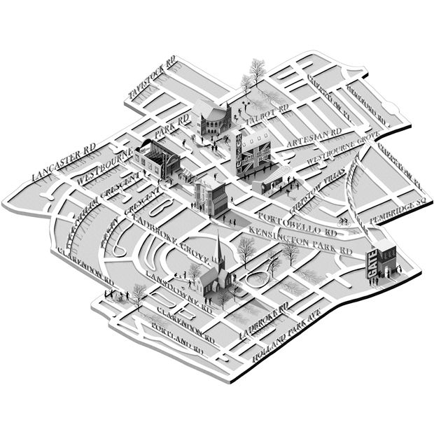 Adam Simpson map of Ladbroke Grove, London