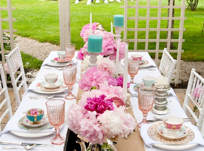 full tea party table setting creative party ideas