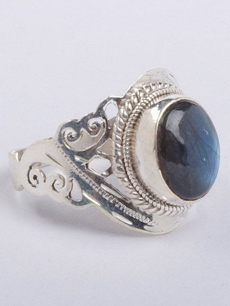Beautiful semi precious stone silver ring hand cut in Patan, Nepal. This ring is guaranteed 925 silver. Labrodite stone