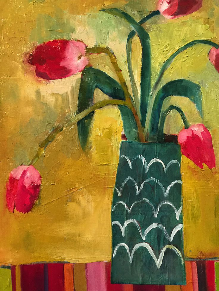 Santa Fe Tulips by Annie O'Brien Gonzales #abstract #floral #art