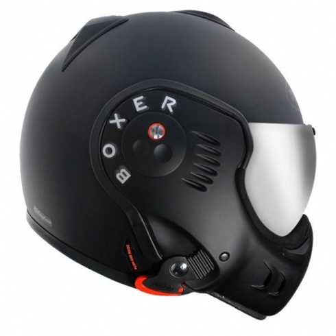 Limited Edition Roof Motorcycle Helmet. The ROOF BOXER V8 BLACK SHADOW has revised top venting, blacked out chin guard fixings and comes with both a regular clear (semi-tint) visor and a silver iridium visor.THE CAFE RACER | £329.00