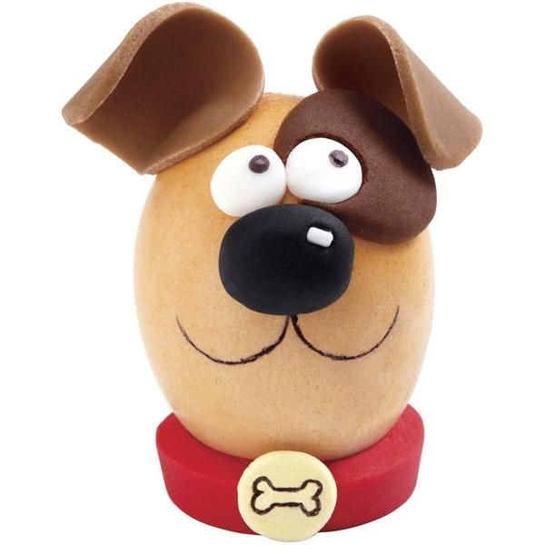 Perky Pup Easter Eggs - Here's a pooch that's welcome at your Easter table! They'll beg for this hard-cooked egg, with his floppy fondant ears, cute eye patch, colorful collar and personalized dog tag.