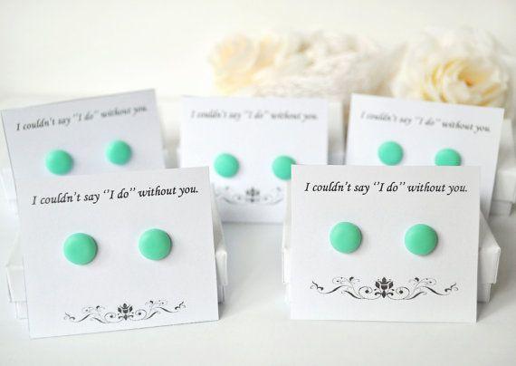 Mint Bridesmaid EarringsMint Green by ArtemisBridalJewelry on Etsy