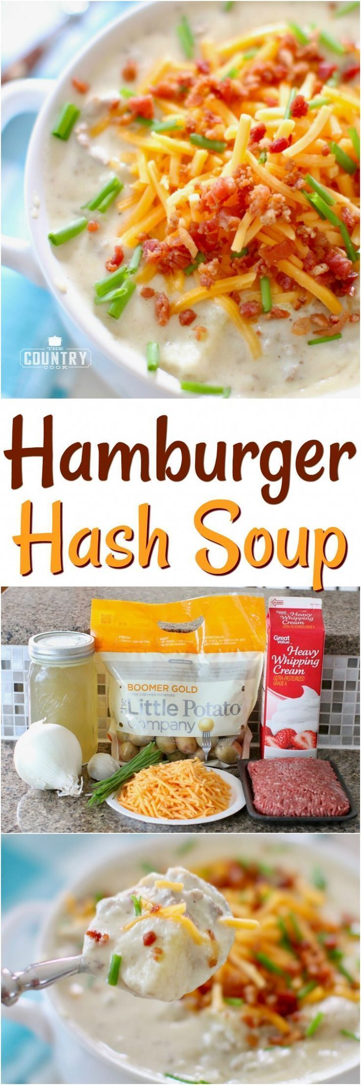 Creamy Hamburger Hash Soup recipe from The Country Cook #soup #groundbeef #potatoes