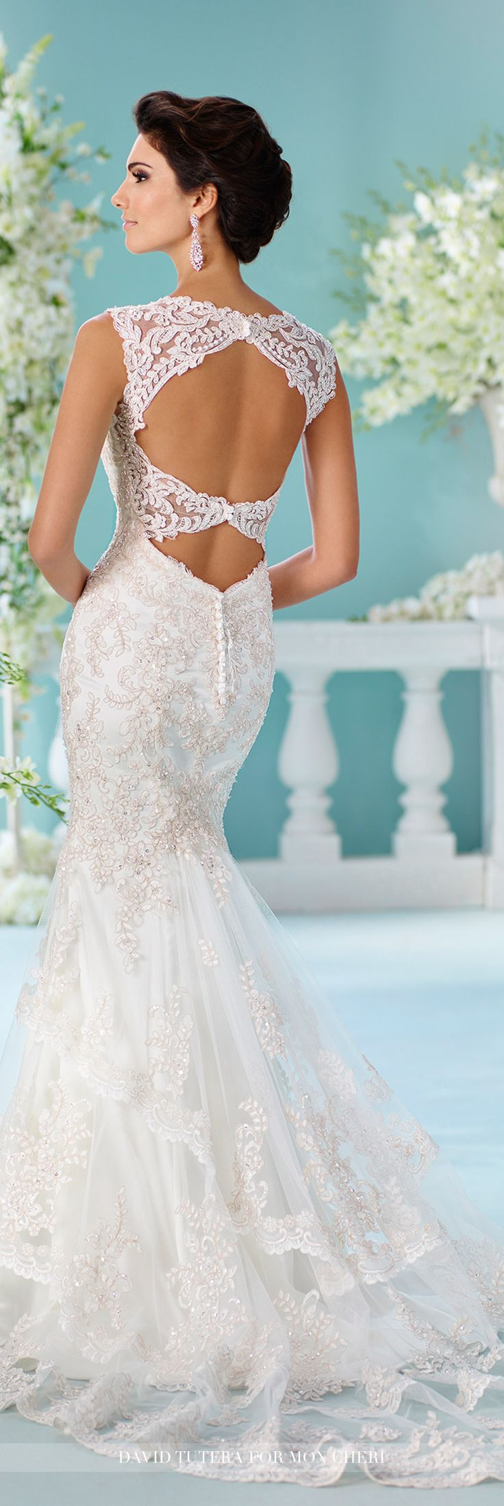 David Tutera for Mon Cheri Fall 2016 Collection - Style No. 216246 Nerida - sleeveless lace wedding dress with keyhole back