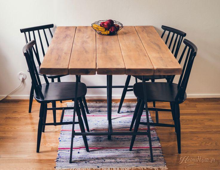 lankkupöytä pukkijalat pinnatuoli sisustus plank table
