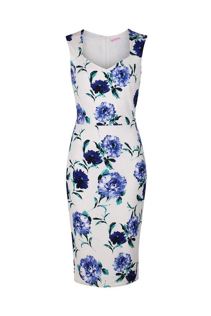 Vintage White and Blue Floral Print Bodycon Pencil Dress