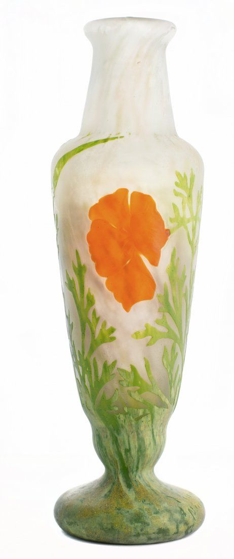 AUM NANCY , EARLY 20TH CENTURY  INTERNALLY DECORATED, ENAMELED AND ACID ETCHED GLASS VASE Circa 1910.
