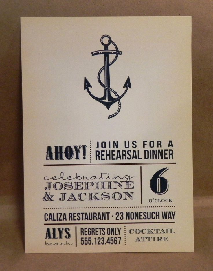 Beach Invitation / Vintage Rehearsal Dinner / Wedding / Birthday / Party / Custom Printed Anchor Darby Cards Invitation. $1.75, via Etsy.