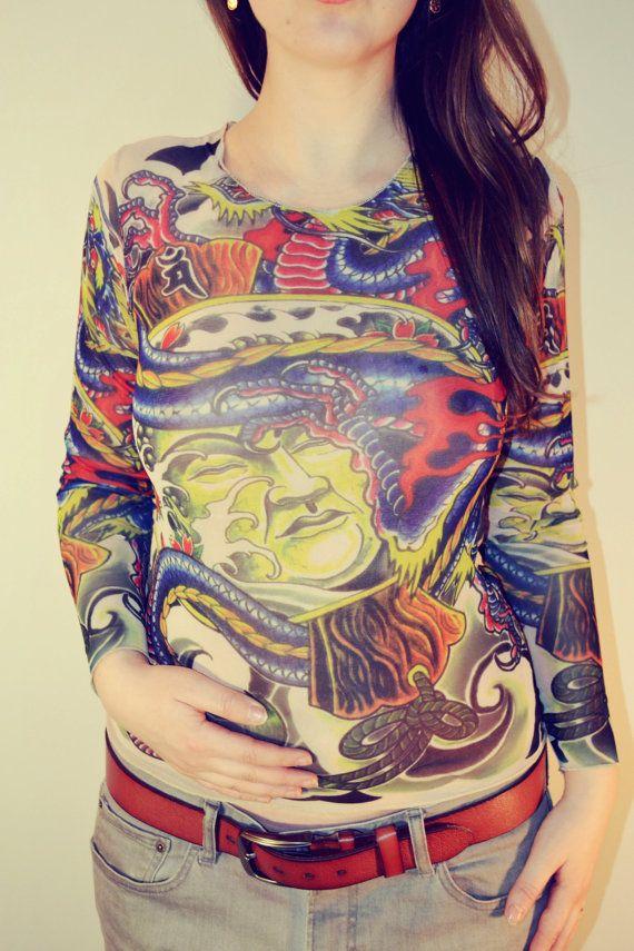 Tattoo T-Shirt Japanese YAKUZA Samurai & Blue Dragon Long Sleeved ...