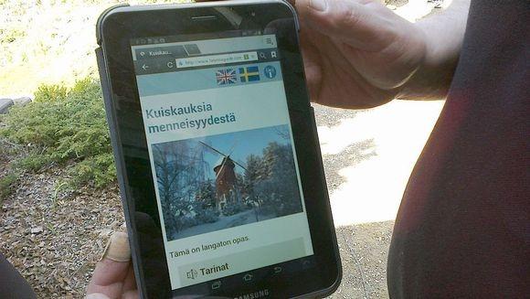 Lepaan langaton opastus tabletin näytöllä. // Wireless guide for the park of HAMK Lepaa.