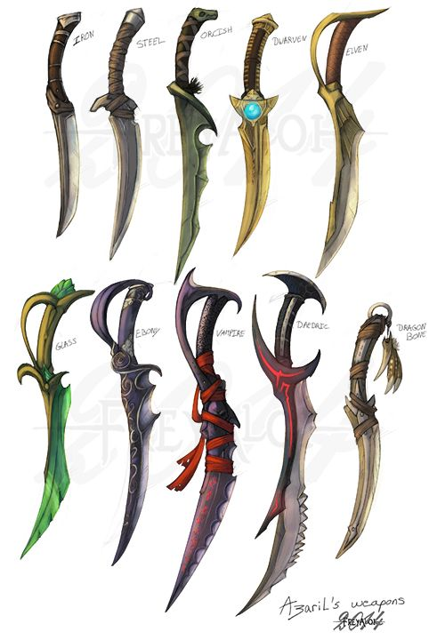 Various designs of daggers that are commonly seen within fantasy games, these daggers each follow a specific theme which will affect the quality of the blade.