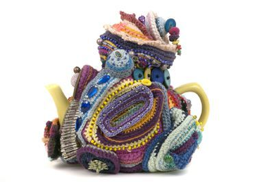 crocheted teapot freeform art {Exotic and Common Combined in Crochet Artist Karin Kempfs Creations}
