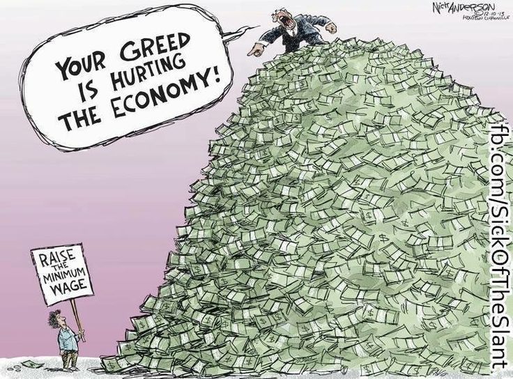 this depicts how big corporations accuse workers of greed for wanting higher wages while they are the ones making tons of profit off their labor and keeping it for themselves instead of contributing to the economy.