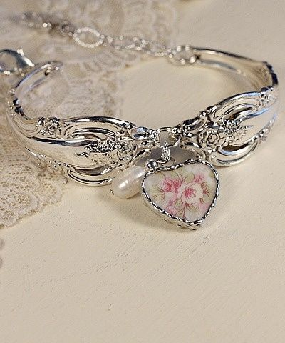 Stunning Silver And Broken China Bracelet With A Fresh Water Pearl Dangle