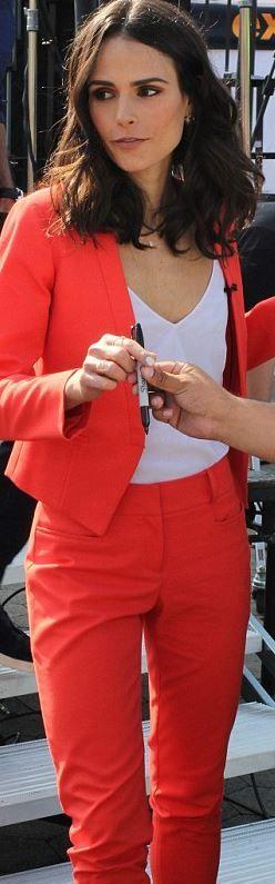 Jordana Brewster: Jacket and pants – Sachin + Babi Shirt – J Brand Purse – Celine
