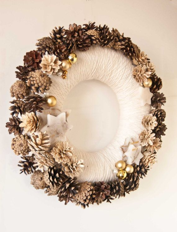 Christmas wreath - Natural wreath -  Holiday decor - Pine cones wreath - Scandinavian winter decor. $36.00, via Etsy.