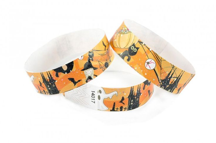 """""""Combo Halloween"""" Tyvek® 3/4"""" Pattern Wristbands perfect for Halloween parties or any other special event. www.medtechgroup.com #Halloween #Wristband #Bats #Events #Admission #Ticket"""