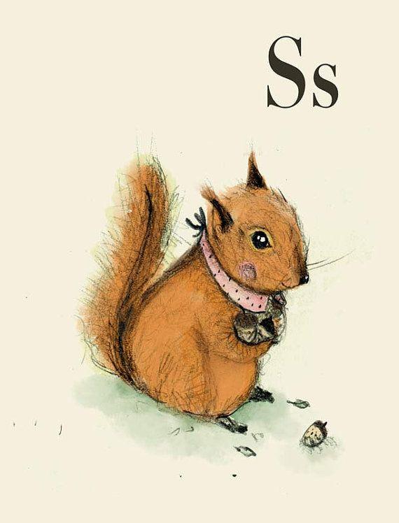 S für Eichhörnchen - Alphabet Kunst - Alphabet drucken - ABC Wand Kunst - ABC print - Kinderzimmer - Kinderzimmer Dekor - Kinder Zimmer Deko...