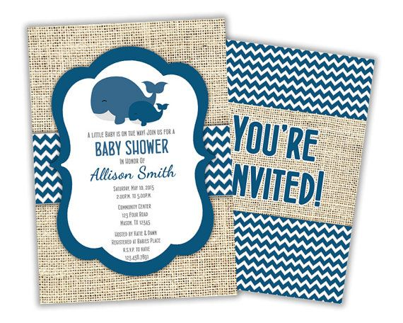 Navy Whale Baby Shower Invite Chevron Whale by PartyPrintExpress