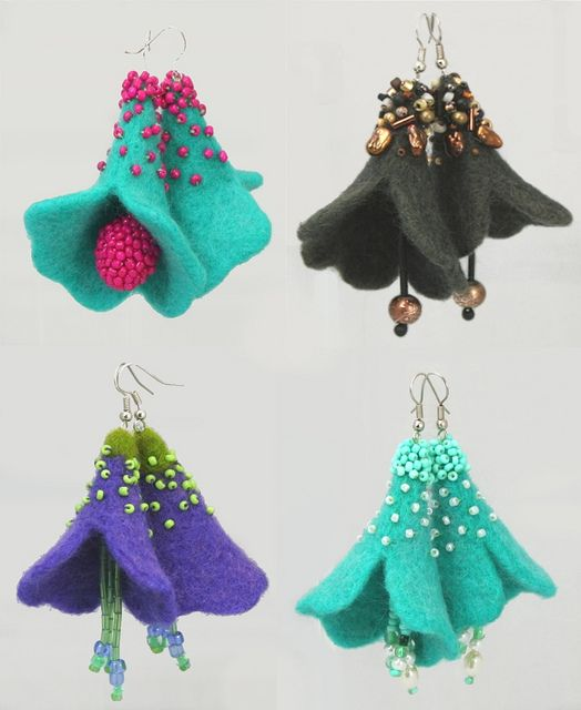 Trumpet Flower Needle Felted Earrings    Working on another class for CraftArtEd