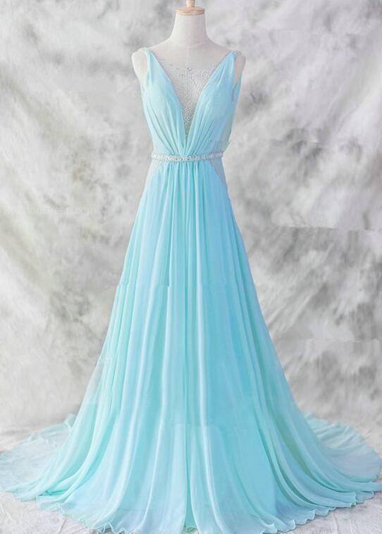 Charming Blue Gorgeous V-neckline Long Party Gowns, Elegant Prom Dress – BeMyBridesmaid