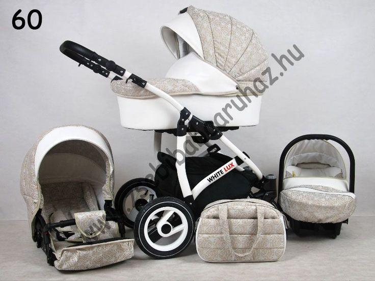 White Lux 3in1 babakocsi - Beige 60, White Lux 3in1 multifunkciós babakocsi mózeskosárral, sportrésszel, bébihordozóval. Divatos babakocsi fehér vázzal és fehér textilbőr betétekkel., Zsebi Babaáruház