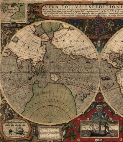 Antique typographic world map by Hondius
