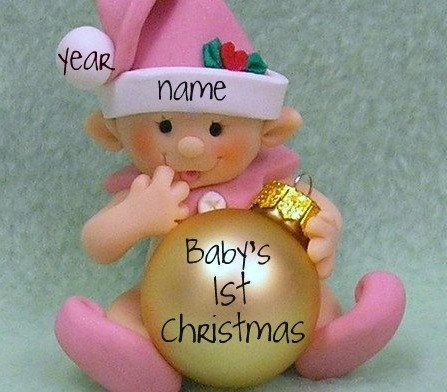 Elf / Babys 1st Christmas Personalized Ornament / First Christmas Decoration. $25.00, via Etsy.