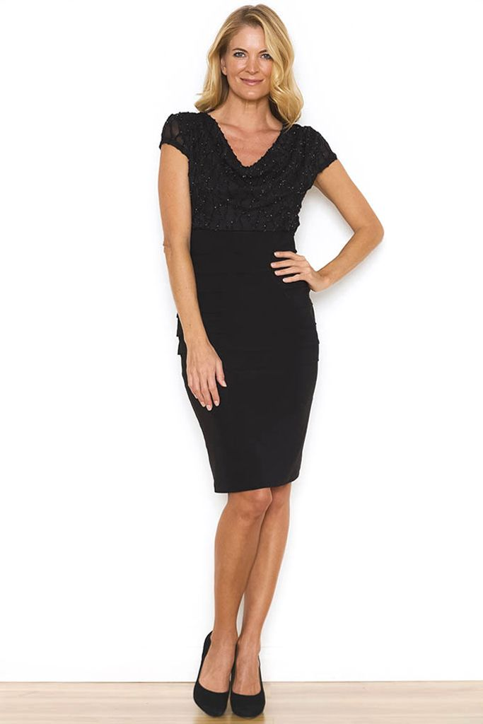 Noni B   SAFARA DRESS - The Safara Dress is the perfect little back dress for almost any occasion this Winter. The intricate beading detail on the top half brings an element of sophistication to the dress, whilst the bandage style bottom flatters any figure.  Liz Jordan Burnout design Cowl neckline Short sleeves Bandage design