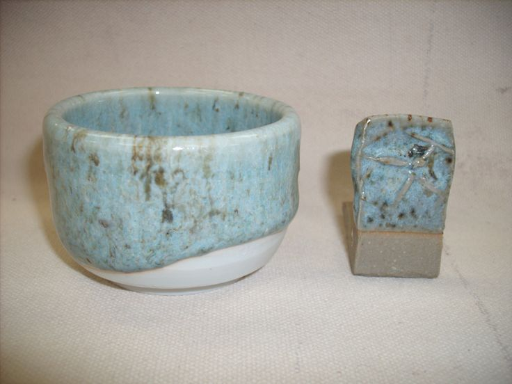 Blue Chu from Chinese Stoneware Glazes by Joseph Grebanier Custer Felspar56 flint22 whiting13 ash9 yellow ochre2.5 Also not a blue chun, also giving me serious flecks from iron oxide.  Underfired on inside of bowl.