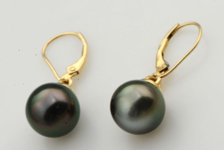 TAHITIAN NATURAL PEARL EARRINGS IN 10 KT SOLID YELLOW GOLD