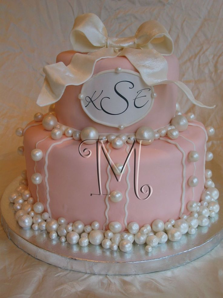 Pearl cake for 1st birthday and baptism inspired by one for Cakes for wedding showers