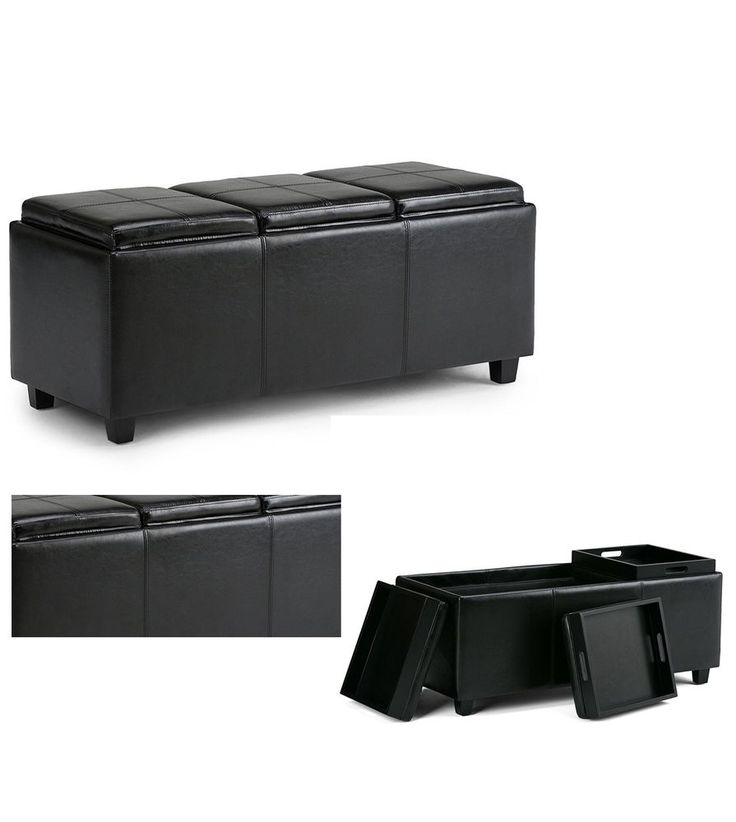 Black ottoman faux leather bench chair storage furniture with 3 serving tray new #PerfectAllinaceLad #Contemporary