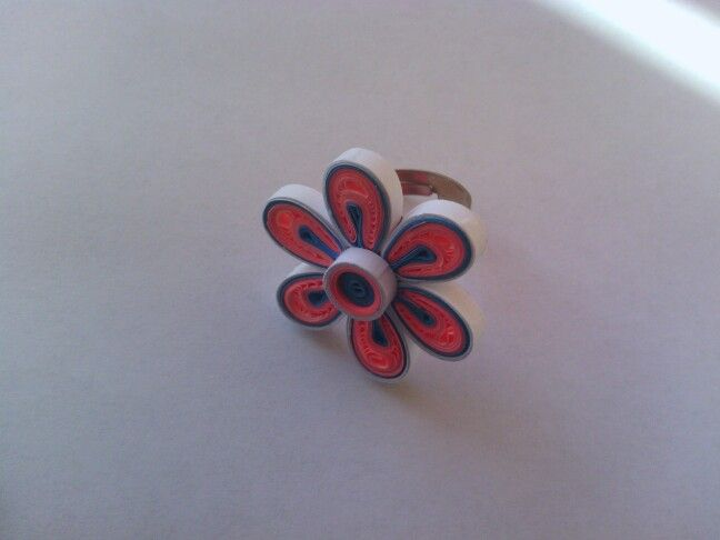 Pink quilled ring