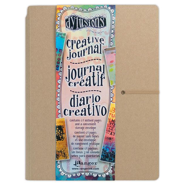 The Dylusions Creative Journal 9x12 has 64 thick unlined pages, durable mixed media cardstock cover, elastic closure & handy storage envelope on the inside!