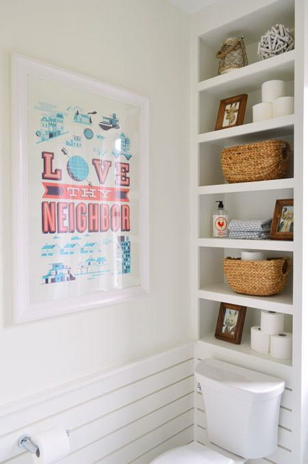 Lovely Built Ins Above The Toilet. Squeeze Out All The Storage Space You Can Get!