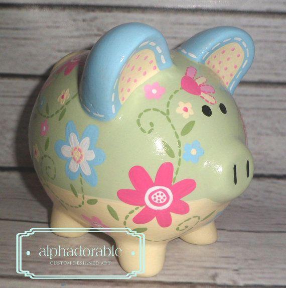"Custom, hand painted ceramic personalized piggy bank Daisy Garden bedding small 5"""