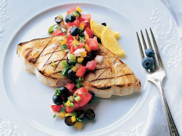 Grilled Swordfish With Blueberry Salsa