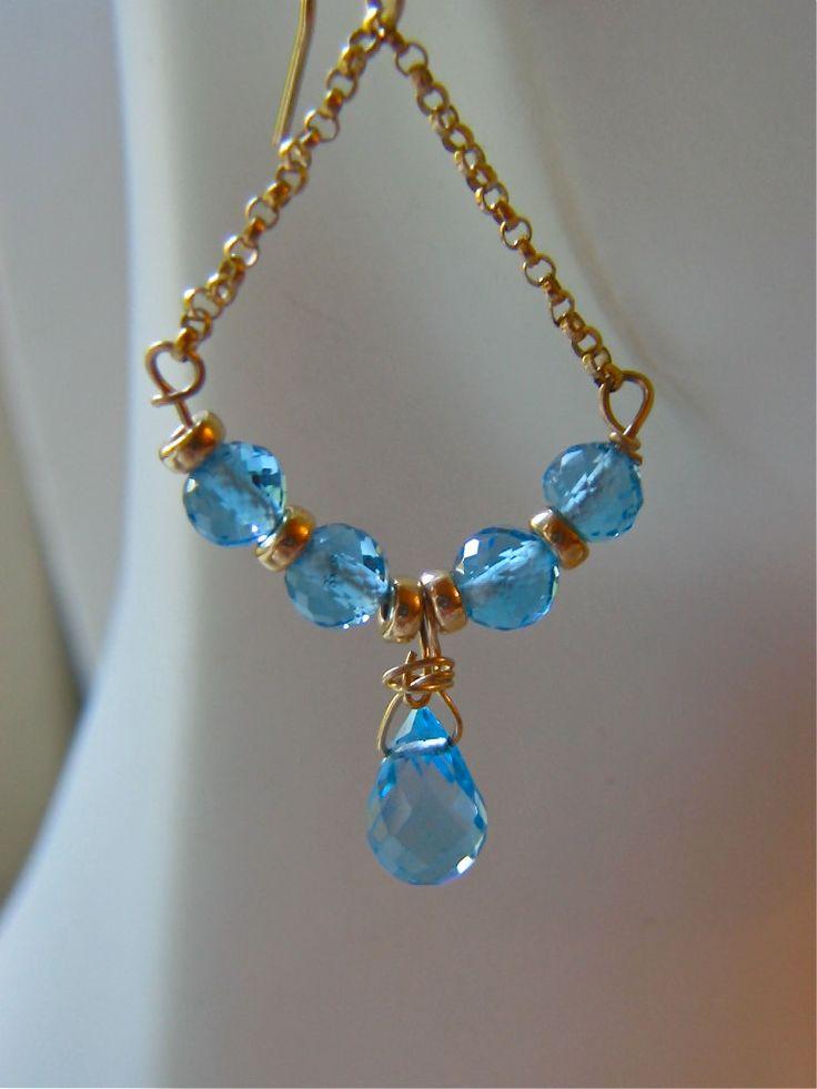 Genuine Swiss Blue Faceted Topaz Gemstone Dangle by LKBeading