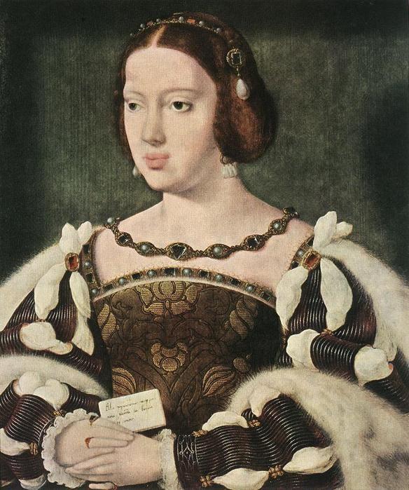 Испанские Габсбурги в портретах. Элеонора Австрийская,сестра Карла V,  (1498-1558),инфанта Испанская и принцесса Бургундии;третья жена короля Мануэля I Португальского,позже вторая жена короля Франции Франциска I.Среди претендентов на ее руку были короли Англии Генрих VII и Генрих VIII,короли Франции Людовик XII и Франциск I и король Польши Сигизмунд I.Éléonore de Habsbourg par Joos van Cleve, vers1530,35,5x29,5 cm, Vienne (Autriche),Kunsthistorisches Museum.