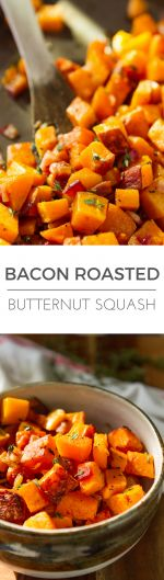 Bacon Roasted Butternut Squash -- 3 ingredients never tasted so good, just thick cut bacon, butternut squash and fresh thyme. The perfect paleo side dish or weeknight sheet pan meal... Total winner! | via @unsophisticook on unsophisticook.com