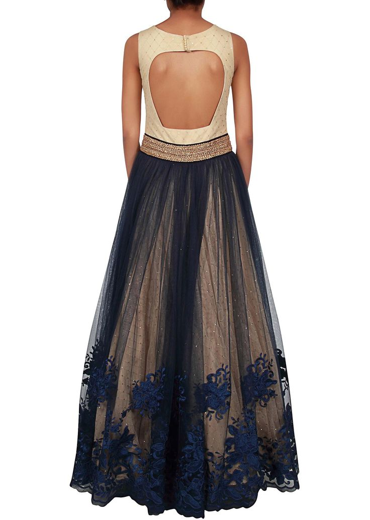 Cream and navy blue gown adorn in resham and kundan embroidery only on Kalki