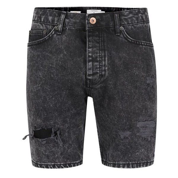 TOPMAN Black Acid Wash Ripped Slim Denim Shorts ($13) ❤ liked on Polyvore featuring men's fashion, men's clothing, men's shorts, shorts, mens distressed denim shorts, mens jean shorts, mens ripped jean shorts, slim fit mens clothing and mens slim fit shorts