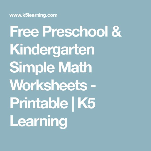 Free Preschool & Kindergarten Simple Math Worksheets - Printable | K5 Learning