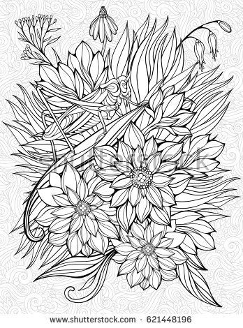Floristic coloring page with big grasshopper