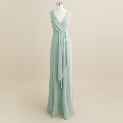 J.Crew, Evie long dress in silk chiffon, dusty shale.      .